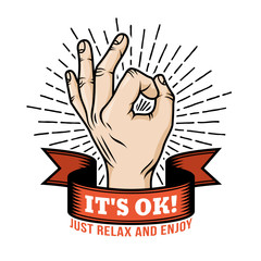 Ok hand gesture retro logo template with ribbon and sunburst. Vector illustration.