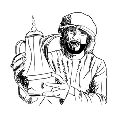 Old Style Hand Drawn Arabic man holding Arabic Coffee Pot. Vector Illustration.