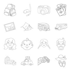 Family holiday set icons in outline style. Big collection of family holiday vector symbol stock illustration