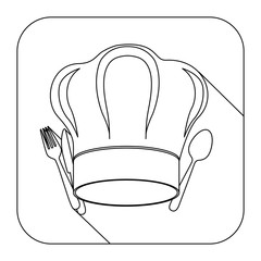 square shape with silhouette chef hat and cutlery vector illustration