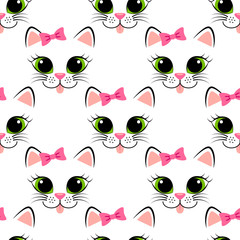 Seamless pattern with cat face. Cute white kitten with pink bow. Girlish background with kitty