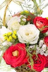 Isolated basket with roses