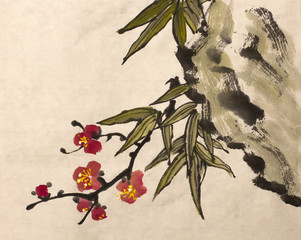 plum and bamboo leaves branch