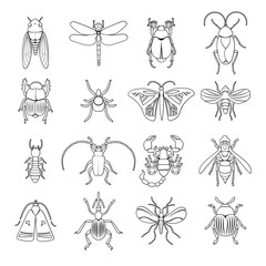 Outline Insects Icons Set