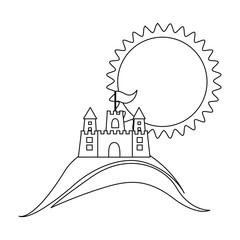 silhouette background beach with sand castle and sun vector illustration