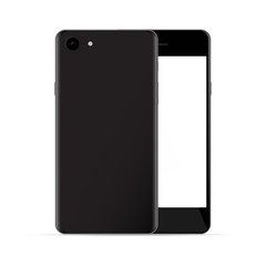 Realistic black phones with white screen, front and back view, i