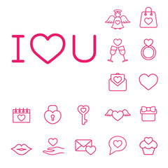 i love you text line icon background