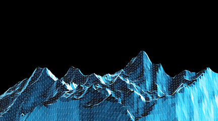 Low poly mountains landscape. Polygonal background