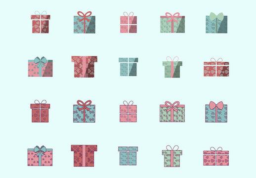 Wrapped Gift Icon Set