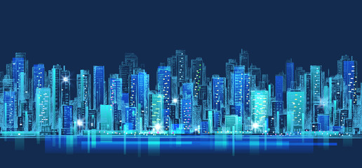 Abstract city scene on night time, cityscape vector design