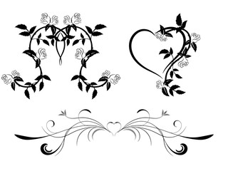 Set of black and white floral ornament with hearts