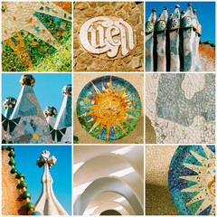 Barcelona travel collage with Antonio Gaudi architectural detail
