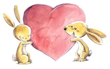 conejos con corazon enamorados