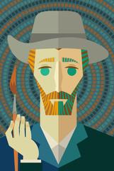 impressionist painter face portrait with paintbrush