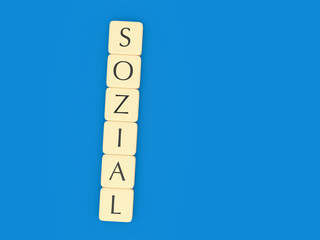 German Politics Concept: Letter Tiles Sozial (Social), 3d illustration
