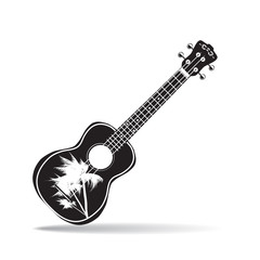 Vector illustration of black and white hawaiian ukulele guitar in flat design