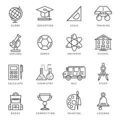 Monochrome School Icon Set