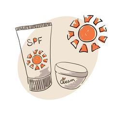 Doodle image sunblock cream for body skin care. Doodle drawing. Hand drawing. Doodle sun. Sunblock cream