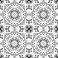 Mandala doodle drawing. seamless ornament. Ethnic motives. Zentangl Hearts. Coloring