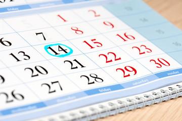 Calendar date highlighted in blue