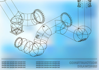 Drawings of steel structures. Pipes and pipe. 3d blueprint of steel structures. Cover, blue background for your design