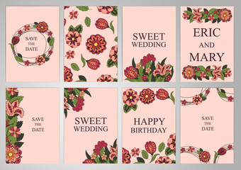 Wedding Set postcards, backgrounds, invitations in the same style. Floral ornament. Cover, Magazine, floral elements. Holidays, weddings, birthdays. Design background, frame