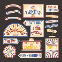 Circus vintage label banner vector illustration.