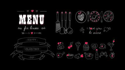 Menu board, hearts. Love symbol icons. Hand drawn vintage Vector Food sketch doodle set.  Template Valentine's day, wedding, anniversary. Design for bar, restaurant, print, banner, web. Chalkboard