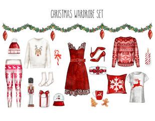 Watercolor digital illustration - watercolor fashion clip art set -Christmas Wardrbe Woman Apparel - Flat fashion sketch
