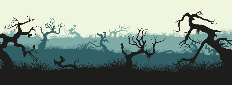 Silhouettes of broken trees and marsh grass. Swamp panorama. Hor