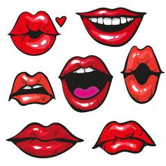 Woman's lip gestures set vecor illustration