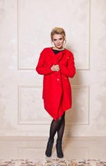 Model in a bright red coat 7608.
