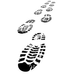 Shoe Prints Walking Forward