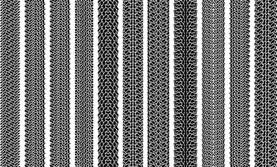 Set of ten grunge vector traces of tires.