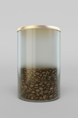 Coffee Glass Jar Packaging Package Isolated. 3D illustration