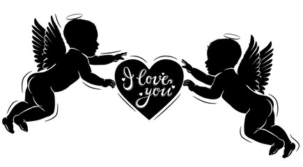 Silhouette cupids with heart I love you