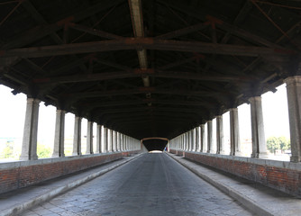 inside the wooden bridge in Pavia in Italy