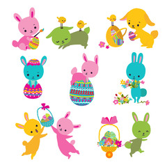 Set of cute Easter bunny with egg, basket and chick. Vector illustration.