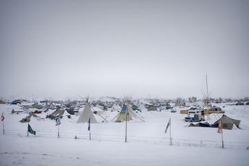 Cloudy, snowy day at Oceti Sakowin Camp, Cannon Ball, North Dakota, USA, January 2017