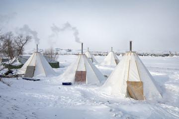 The modern tipi at Oceti Sakowin Camp, Cannon Ball, North Dakota, USA, January 2017