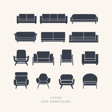 Set of silhouettes of sofas on a light background. Furniture icons. Vector illustration.