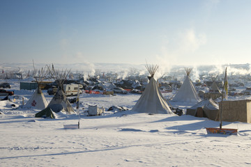 Oceti Sakowin Camp in the early morning, Cannon Ball, North Dakota, USA, January 2017