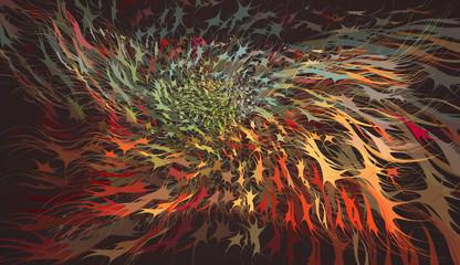 Dynamic abstract shape on dark BG