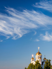 Orthodox church with a cloudy sky as copy space