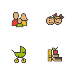 Family color icons set. Baby carriage, children, apple and books symbol. Logo concepts. Vector isolated illustration.