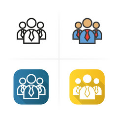 Men in ties icon. Flat design, linear color styles. Isolated vector illustrations.