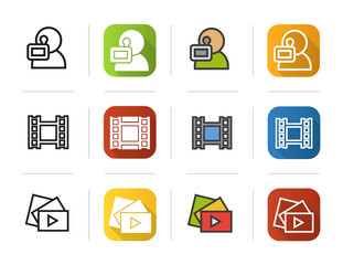 Filming icons set. Flat design, linear and color styles. Videographer, video film, play button symbol. Isolated vector illustrations.