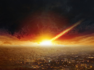 Wall Mural - Judgment day, end of world, asteroid impact