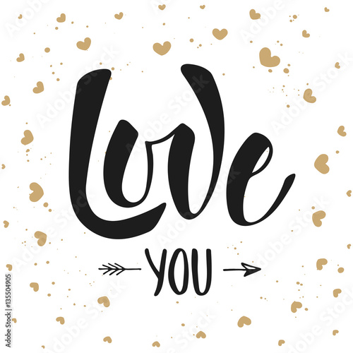 love you modern ink brush calligraphy with hearts fotolia com の