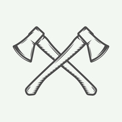 Vintage cross axes in retro style. Can be used for logo, emblem